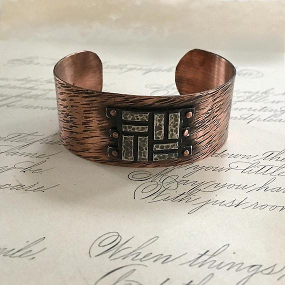 Copper Jewelry, Hammered Cuff Bracelet, Copper Rivets, Mixed Metal