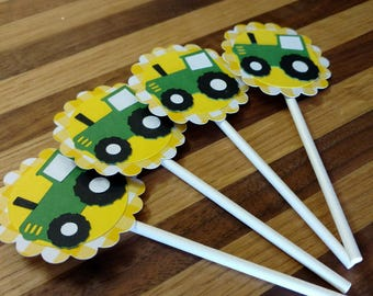 Gingham Green Tractor Cupcake Toppers, tractor toppers, farm toppers, farm toppers, gingham toppers, john deere toppers, john deere, tractor