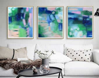 Triptych abstract apitnign art prints, Flamingo pink, navy blue green art, interior design trends 2018, interior wall colors for 2018