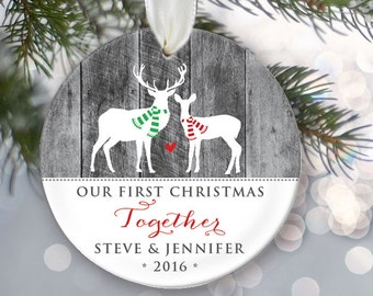 Together Couple's Ornament Our First Christmas Together Ornament Personalized Christmas Ornament Faux rustic gray wood Deer Ornament OR097