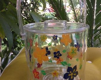 Vintage lucite ice bucket handle lid flowers 1980's