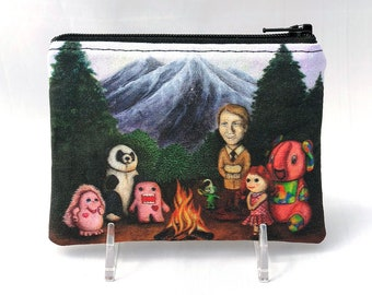 Campfire of Misfit Toys- Small Zipper Pouch - Surreal Landscape with campfire and curious toys - Art by Marcia Furman
