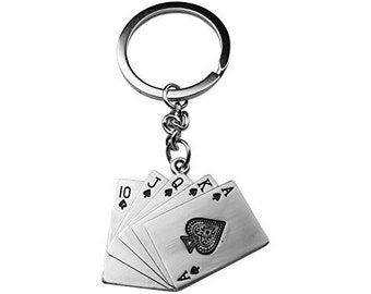 Art Attack Silvertone Metal Playing Cards Coming Up Spades Royal Flush Poker Bag Charm Pendant Keychain