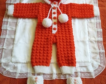 Hand knitted baby overall with booties-Gift for baby,newborn-Warm-Soft-Set-Crochet overalls-Orange overalls-Newborn knit romper