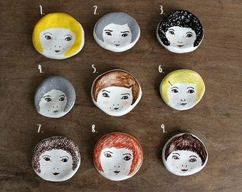 Tiny Illustrated Face Dishes.Jewellery, Ring Dish. One off designs, 9 styles