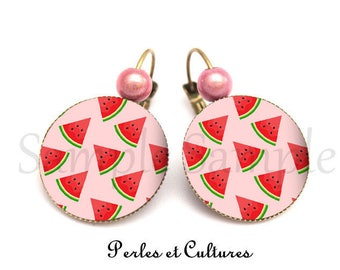 Earrings - red watermelon pink green tropical cabochon