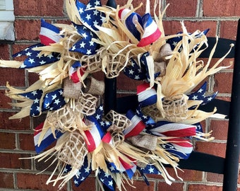 Patriotic Wreath, American Flag Colors Corn Husk Wreath, Red White and Blue Wreath, Natural Corn Husks