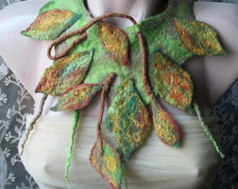 Felted Collar, Fall Accessory ,Felt Necklace Pixie Jewelry,Nymph Neck Piece, Leaf Choker,Woodland Costume,Wearable art,felt leaves