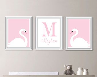 Swan Nursery Decor. Swan Nursery Art. Girl Nursery Art Prints. Girl Nursery Decor. Swan Bedroom Art. Swan Art. Nursery Wall Art Decor. NS836