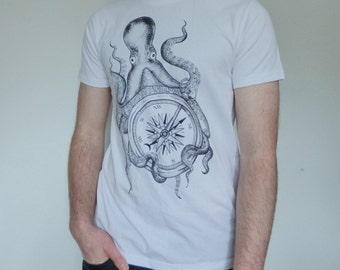 unisex Lost at Sea T-shirt with Octopus and Compass print