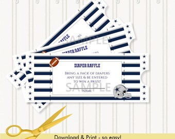 Dallas Cowboys Football | Baby Shower | Diaper Raffle Ticket | Digital Download & Print