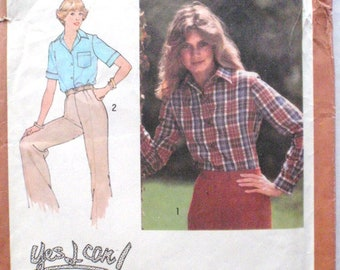 Simplicity 8759 - Women's Sewing Pattern - Yes I Can Learn To Sew Front Button Shirt - Size 10, Bust 32 1/2