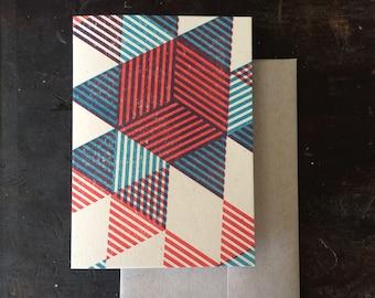 Pyramids Letterpress Notecard - Tomato & Blue
