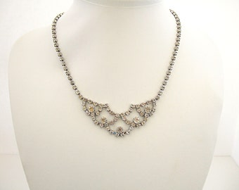 ON SALE Vintage Choker Necklace White Rhinestone Jewelry Bib Pendant Necklace Elegant & Dressy Sparking Formal Evening Wear Date Night