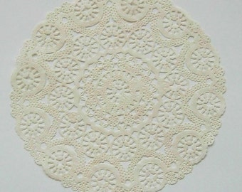 TEN dip dyed IVORY Paper Doilies, 8, 10, or 12 inch, Medallion Style
