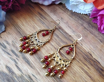 Hippie Gold Earrings. Boho Jewelry. Ethnic Statement Earrings. Boho Earrings. Bohemian Jewelry. Red Earrings. Large Earrings. Gold Earrings.