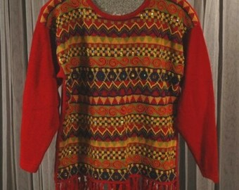 Vintage 1980s Red Beaded and Fringed Sweater Size Medium b42