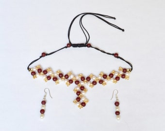 Red, Gold and Pearl Beaded Necklace/Earring Jewelry Set- crafted by Nepalese human trafficking victims