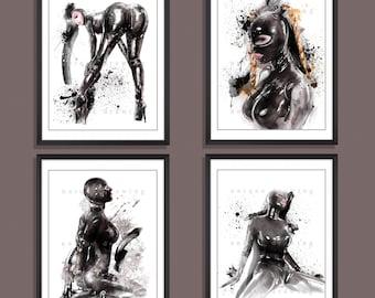 Mature, Fetish art, fine art, BDSM art painting, Bondage, nude art, Set of 4 prints, gift for man, wall decor print, rubber clothing, 3556