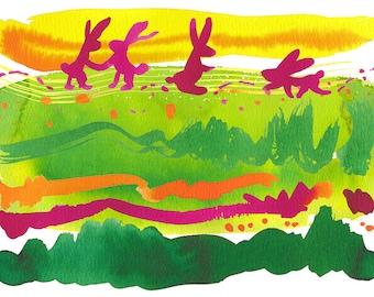 "Spring Rabbits Wall decor 8x10"""