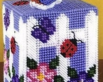 BLUEBIRD & FLOWERS - 3-D Tissue Box Cover - Boutique Size - Needlepoint on Plastic Canvas
