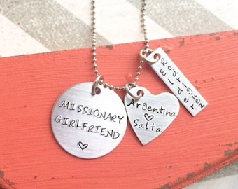 Missionary Girlfriend Necklace - Hand Stamped Necklace - Personalized Missionary Girlfriend Keychain Necklace - Custom necklace  lds mission
