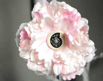 Ammonite Flower Hair Clip in Pink