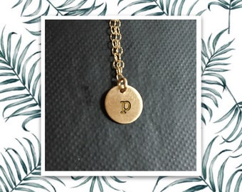 14K solid yellow gold custom handstamped initial monogram mommy necklace