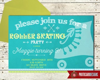Roller Skating Invitation, Roller Skating Party, Birthday Invitation, Roller Skate, Roller Rink, Birthday, Digital, Print file, Party