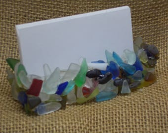 Faux Sea Glass Business Card Holder