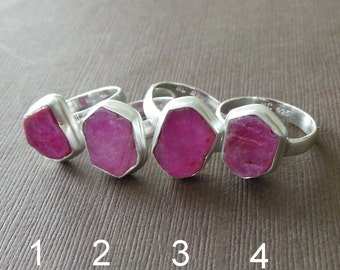 Raw Ruby Ring, Ruby Solitair Sterling Ring, Stacking Ring, Birthstone Ring