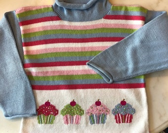 Peruvian Cotton Cupcake Sweater Pink Blue and Stripes