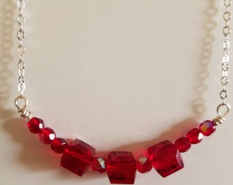 Red Swarovksi Crystal Cube Bead Necklace, Red Necklace, Crystal Necklace, Red Crystal Necklace, Silver Necklace, Red Cube Necklace