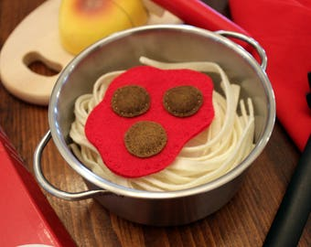 Felt play food spaghetti and meatballs and garlic bread, pretend food, play kitchen, felt pasta set