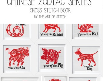 Chinese Zodiac Cross Stitch Kit Set, Chinese Astrology, Horoscope Embroidery Kit (BOOK06)