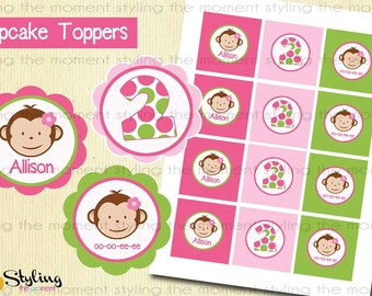 Pink Mod Monkey Cupcake Toppers AND wrappers