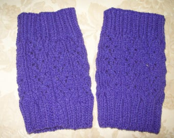 Hand Knitted Boot Toppers ~ Purple ~ Lace Design