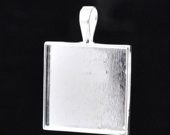 "10 Bright Silver Plated Metal Pendant Tray, bezel tray, fits 1"" square inside, 38mm x 27mm chs1599"