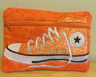 Embroidered zipper pouch high top shoe cosmetic toiletry bag