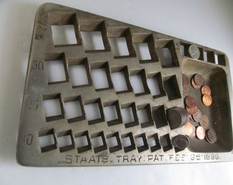 Antique Staats Coin Bank Coin Tray Vintage Banks Money Bank Coin Collecting US Coin Bank Us Gold Coins Us Silver Coin Tray Banking Banker