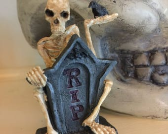 REDUCED - RIP Resin Tombstone with a Skeleton Holding a Crow for a One Inch Scale Halloween Scene or a Haunted Dollhouse