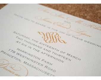 Sample Wedding Invitation with Simple and Elegant Filigree Swirl