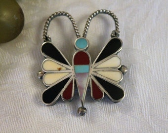 Vintage Native American Butterfly Brooch or Pendant - Sterling Silver and Multi-Stone in Excellent Condition