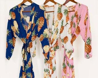 Rayon feel Pineapple Bridesmaid Robes (Custom Initials)