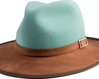 The Town & Country:  Plush Leather and Wool Blend. Waterproof and Packable - by RMO HATS - Made in the USA