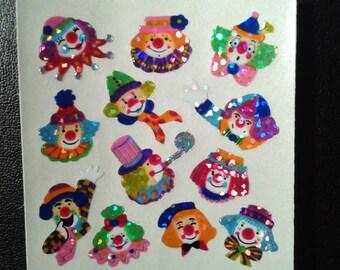 Sandylion Stickers vintage Glittery Mini Clowns, Clown Faces  (1 mod)