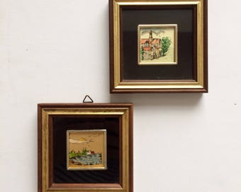 Adorable Set of 2 Vintage Miniature Pictures, Vintage Garanzia Lavorazione a Mano Gold Painted Miniature, Made in Italy