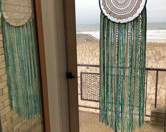 Large Dreamcatcher - white and blue (14in)