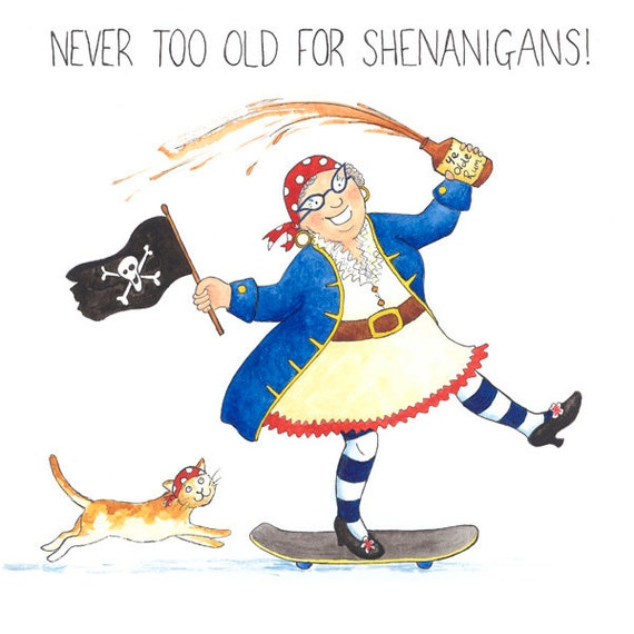 Crazy old lady greeting card never too old for shenanigans m4hsunfo