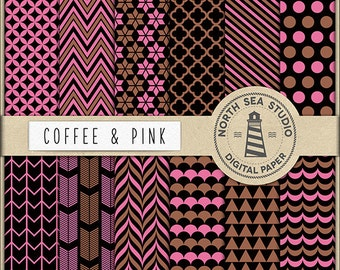Coffee And Pink Digital Paper Pack | Scrapbook Paper | Printable Backgrounds | 12 JPG, 300dpi Files | BUY5FOR8